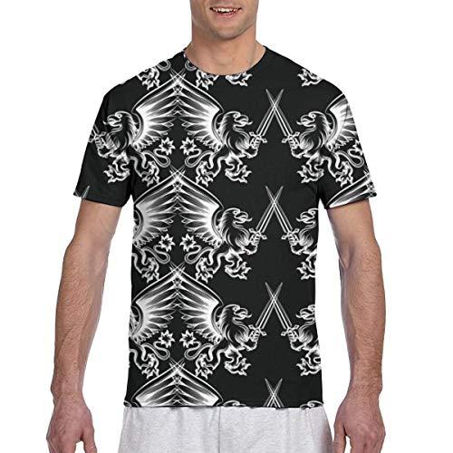Patrón sin Fisuras con Mano Blanca Dibujada heráldica Grifo con Espada sobre Fondo Negro 3D Impreso poliéster poliéster Verano Camiseta L