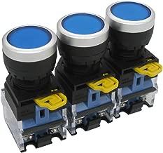 Taiss / 3pcs 22mm 10A 440V 1NO 1NC Blue Sign Momentary Push Button Switch Pushbutton Switches (Warranty 3 years) LA38-11BN-BU