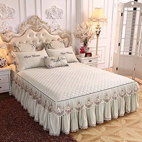 3PCS Bettrock Tagesdecke Rüschen Bett Rock Bett Volant Bettüberwurf Mit Rüschen Faltenresistent Und Ausbleichen Beständig,Color1-200x220cm(79x87inch)