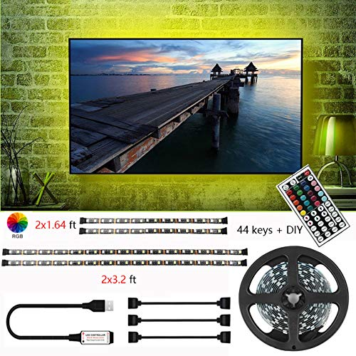 YUVEYI USB TV Backlight,USB LED Strip Lights Kit TV Lights 9.8ft 16 Colors 5050 LEDs Bias Lighting + 44-Key IR Remote Controller for 46 inch~70 inch PC Monitor Home Decoration