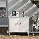 DADEA Mesita de noche blanca, 2 puertas armario de almacenamiento con 2 estantes, aparador en el pecho, armario lateral con asas de madera para sala de estar, dormitorio, hogar u oficina