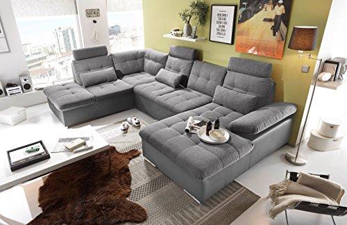 moebel-guenstig24.de Couch Jakarta Wohnlandschaft Sofa Lederlook Schlaffunktion Schlafsofa dunkelgrau grau hell Gemustert Ottomane Links 324 cm