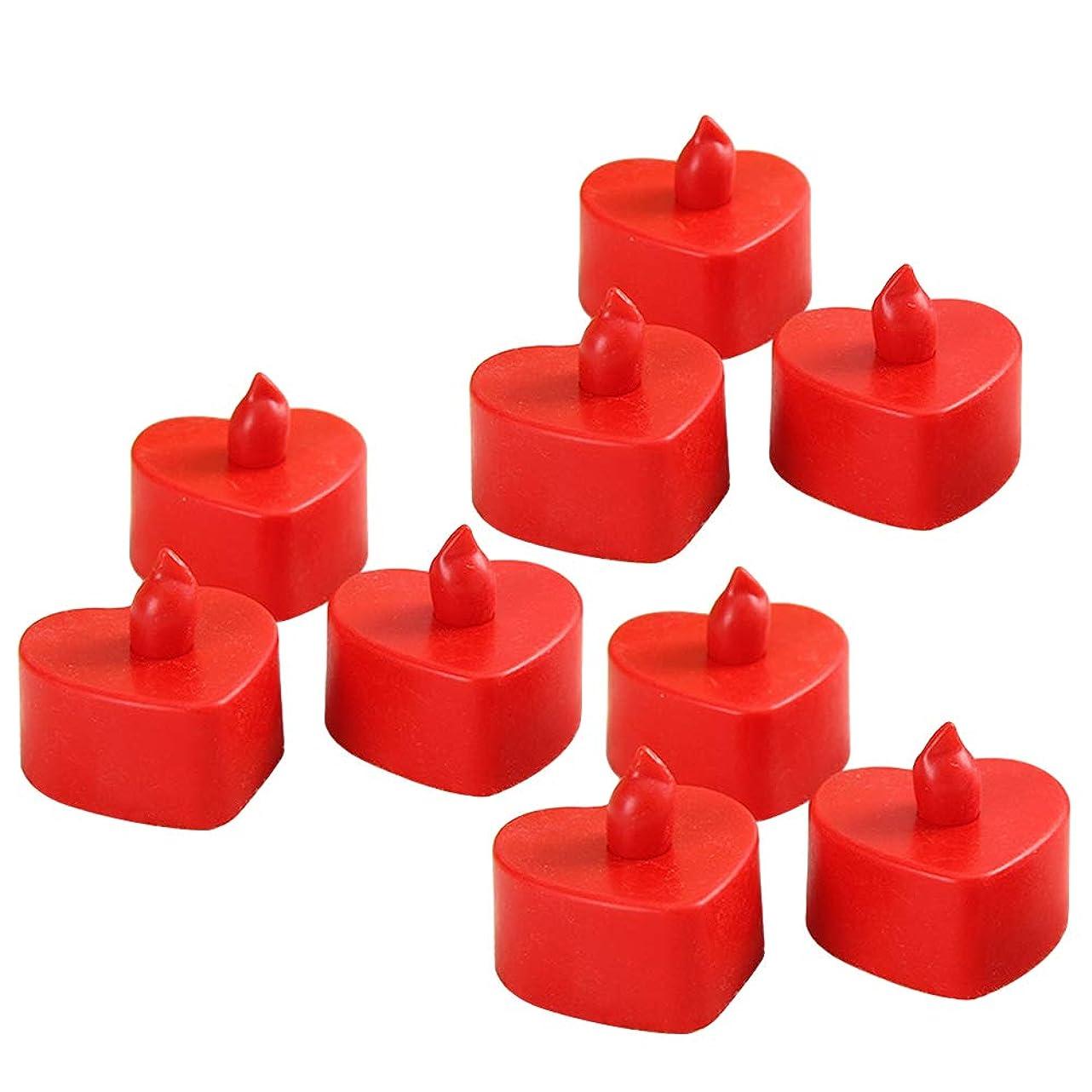 ハグテニス否認するBESTOYARD 10個無炎キャンドルバッテリーは、キャンドルウェディングパーティフェスティバルの装飾(赤いシェルの赤い光)