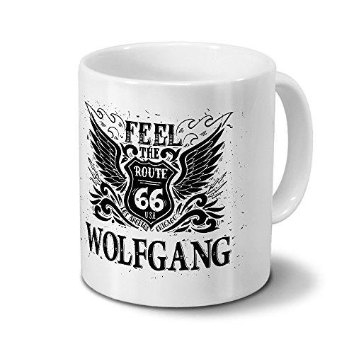 Tasse mit Namen Wolfgang - Motiv Route 66 - Namenstasse, Kaffeebecher, Mug, Becher, Kaffeetasse - Farbe Weiß
