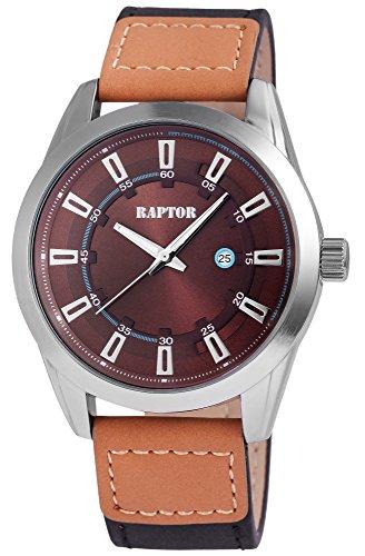 Raptor Herren-Uhr Echtlederarmband Datumsanzeige Analog Quarzwerk RA20065-005