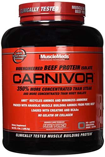 SPORTS NUTRITION SOURCE Musclemeds Carnivor Klinisch getestet 100% Rindfleisch Eiweiß Isolat Pulver, Premium Proteinpulver Fruit Punch 56 portionen, 1814 g
