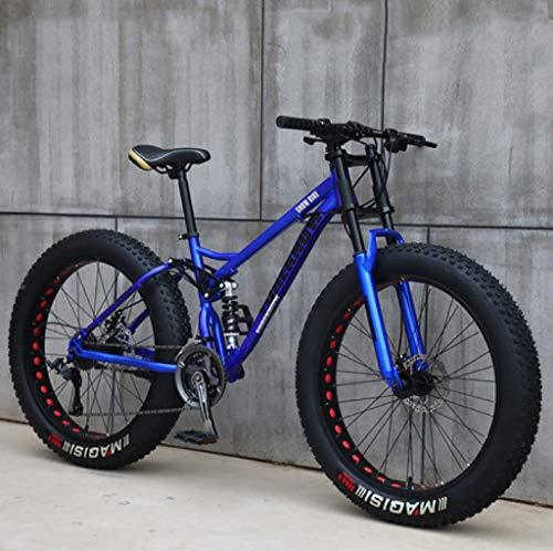 QXX Bicicletas de montaña for Adultos, 24 Pulgadas Fat Tire Bicicletas de montaña, Rígidas Bastidor de suspensión Dual y Suspensión Tenedor Todo Terreno de Bicicletas de montaña