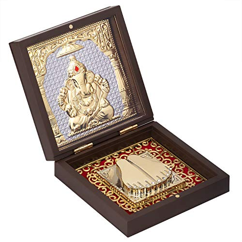 Aheli Indian God Ganesha Idol Photo Frame Statue Holy Momento Frame for Pooja God of Good Luck and Wealth for Diwali Puja Indian Mythology Hindu Religious Charm Decorative Accessories Gifts