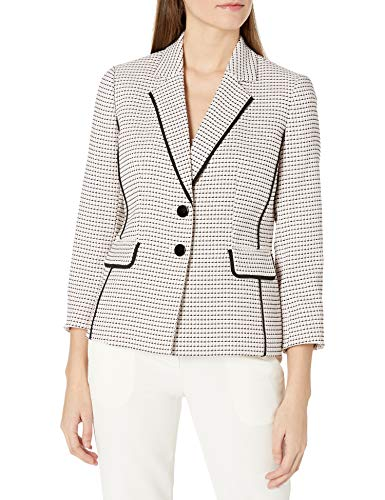 Womens Long Sleeve 2 Button Notch Collar Tweed Jacket with Piping
