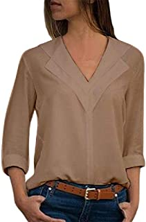 HEFASDM Women's V Neck Loose Fit Long Sleeve Pure Color Chiffon Blouse Tunic Tops
