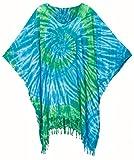 Poncho Caftan Tops Kaftan Blouse Spiral Handmade Tie dye Plus Size (Multi-Blue)