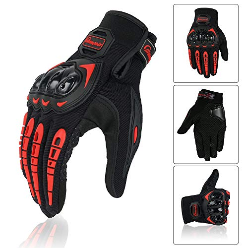 Motorcycle Glove Guantes Moto Touch Screen Full Finger Breathable Powered Motorbike Racing Riding Gloves (Red, XL)