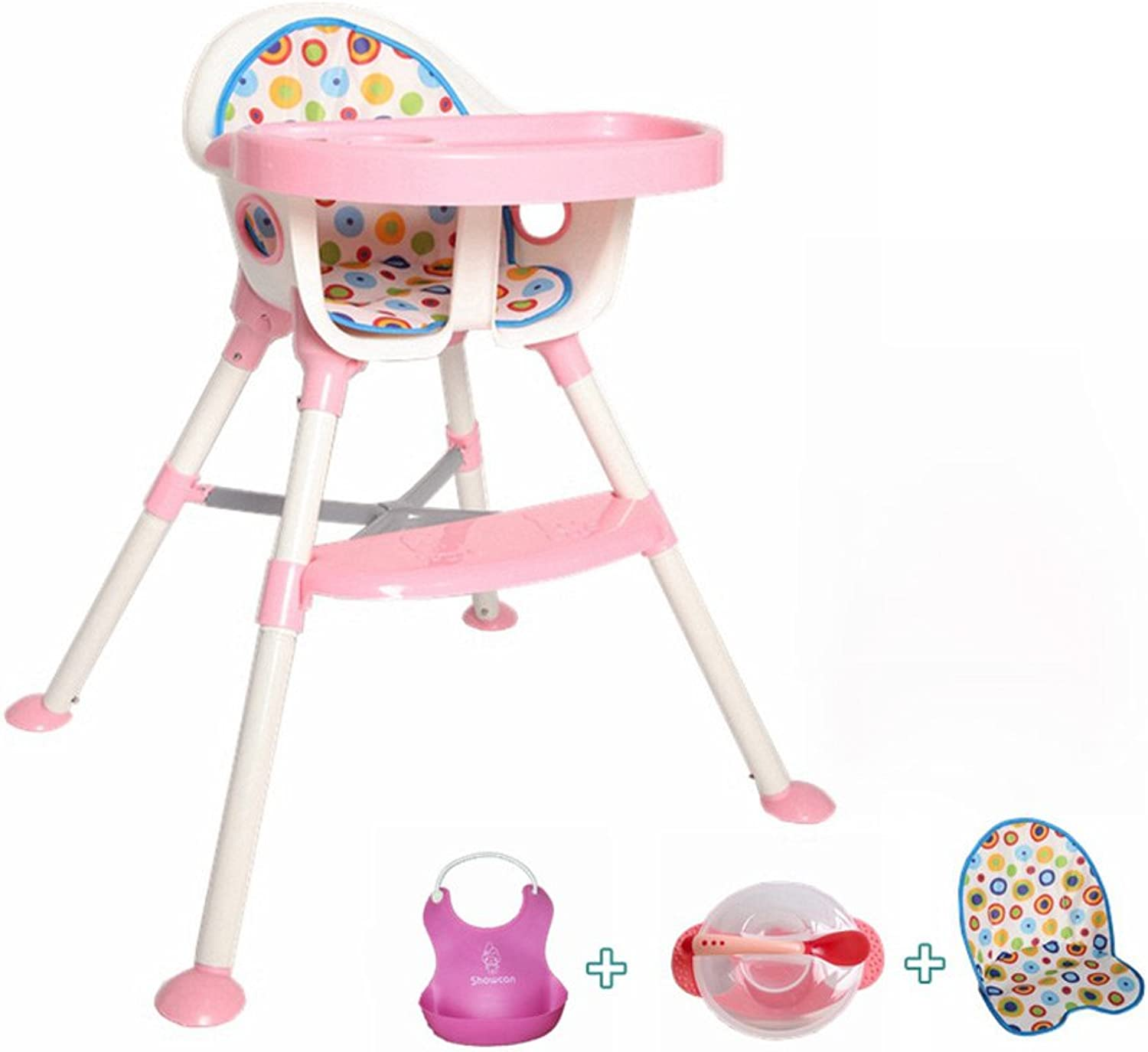 Portable Baby High Chair, Baby Feeding Lounge Chair, Plastic Folding Dining Chair, L78  W57  H83cm, Bearing 30kg (Pink)
