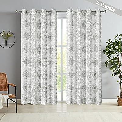 SXZJTEX Floral Linen Window Curtain, Damask Pri...