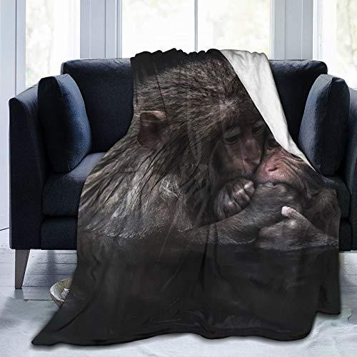 Cap pillow Fleecedecke 127 x 152,4 cm – Japanische Macaques Wasser Baby Macaques Home Flanell Fleece Weich Warm Plüsch Überwurf Decke für Bett/Couch/Sofa/Büro/Camping