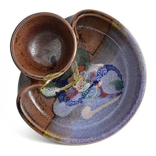 Larrabee Ceramics 7-inch Small Shrimp and Dip Platter, Burgundy/Multi