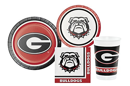 University of Georgia Bulldogs Party Supply Pack: Bundle Includes Plates Napkins & Cups for 8 Guests