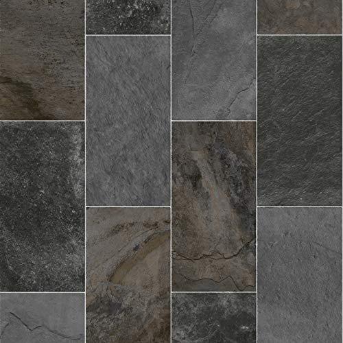 247Floors Forli Tile Effect Vinyl Flooring 2.3mm Realistic Foam Backed Slip Resistant Lino (5m x 3m / 16ft 4' x 9ft 10', Dark Stone Tiles)