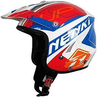 XuBa Unisex Outdoor Motorcycle Helmet Half Face Protection Helmet Capacete Bright White/Blue red Flower XXL