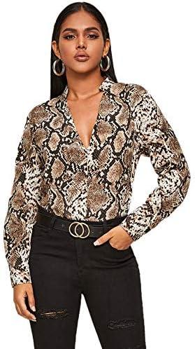 WDIRARA Women s Snakeskin Print V Neck Long Sleeve Elegant Pullover Blouse Top Multicolor S product image