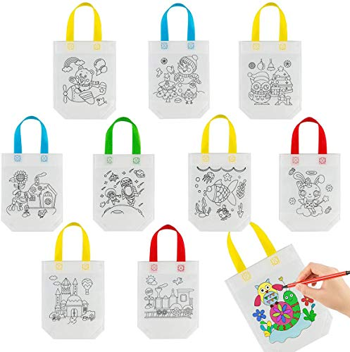 40 Pack Graffiti Goodie Bags for Kids Birthday Party Favors Art Class- Color Your Own Tote Bag