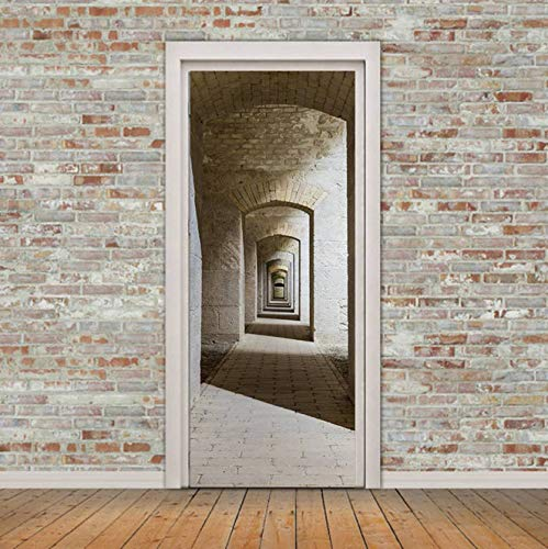 3D Home Decoration Stickers & Posters DIY 3D Brick Door Sticker Waterproof PVC Wall Poster Removable Wall Murals