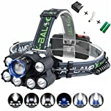 XULUOQI Headlamp, Brightest LED Work Headlight,USB Rechargeable Headlamp Flashlight - 8000 Lumens Waterproof and Comfortable Headlamp 7-Light 6-Mode Super Bright Outdoor Camping Fishing Headlamp