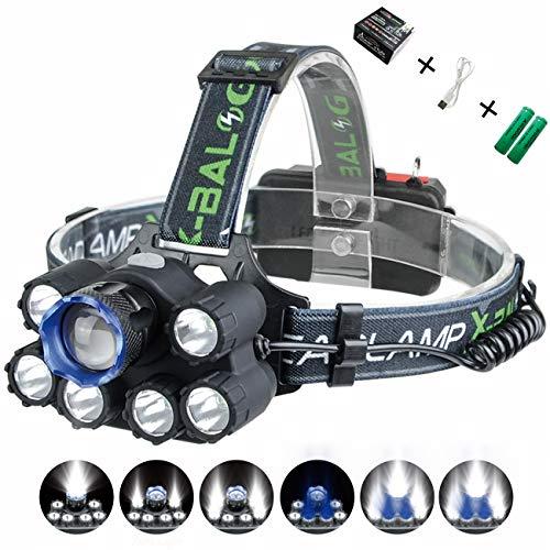 XULUOQI Headlamp, Brightest LED Work Headlight,USB Rechargeable Headlamp Flashlight - 8000 Lumens Waterproof and Comfortable Headlamp 7-Light 6-Mode Super Bright Outdoor Camping Fishing Headlamp