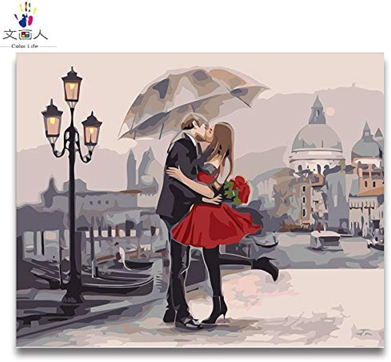 KYKDY DIY colorings Pictures by Numbers with colors Paris Street View The View of The City Picture Drawing Painting by Numbers Framed,4011,50x40 with Frame