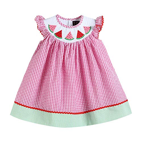 Lil Cactus Girls Classic Flutter-Sleeved Smocked Bishop Dress, Pink Gingham Watermelons, 6Y