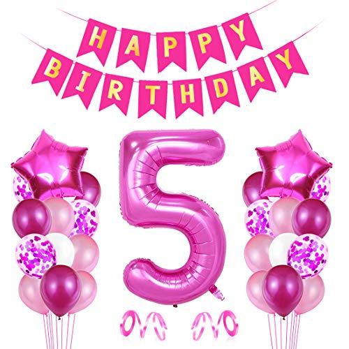 Globo Numero 5 Rosa, Decoración de Cumpleaños 5 en Rosa, Pancarta de Feliz Cumpleaños, Foil Helio Globo Númer, Globos de Fiesta, para Bodas Niña Cumpleaños Comunion Bautizo