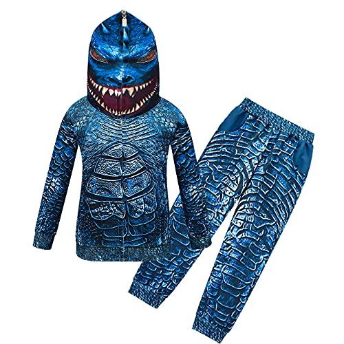 Disfraz de dinosaurio de aventura para niños Godzilla con estampado 3D de cosplay de juego de roles y juego de pantalones, azul, 110 cm