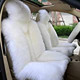 OKAYDA Car Seat Cover Genuine Australia Sheepskin High Low Wool Luxury Front Seat Cover Fits Car, Truck, SUV, or Van (1 Piece)