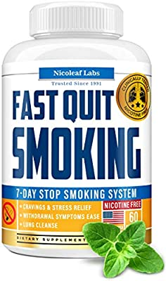 Lung Cleanse & Fast Quit Smoking Aid - Detox Pills for Clear Lungs - Made in USA - Provides Lung Health Support, Asthma Relief & Helps Stop Smoking - Lung Detox & COPD Relief with Mullein & Lobelia from Nicoleaf