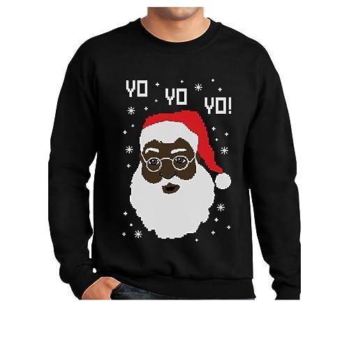 c2c8836d20a1 Tstars Yo Yo Yo Black Santa Ugly Christmas Sweater Sweatshirt