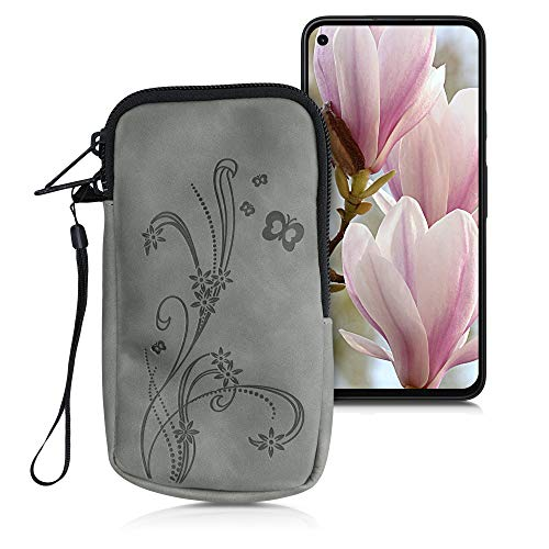 kwmobile Universal Smartphone Pouch Size L - 6.5' - Synthetic Leather Case w/Zipper - Butterfly Tendril Grey