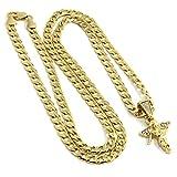 Jewel Town Men & Ladies Gold Plated Mini Side Angel Cz Pendant Hip Hop 24' Cuban Chain D186