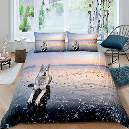 King Size Alaskan Malamute Duvet Cover Set Dog Ice Comforter Cover Set Breathable & Cooling Bed Cover Sheets1 Duvet Cover with 2 Pillow Cases