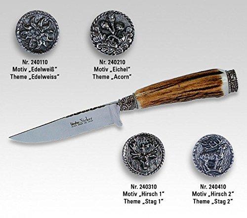 Linder Costume Traditionnel Couteau/Motifs Feuilles de chêne Longueur de la Lame 10 cm, 22,2 cm, 240110