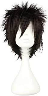 NiceLisa Halloween Party Cosplay Wig Short Fluffy Spiky Black Boy Male Comic Costume Wig