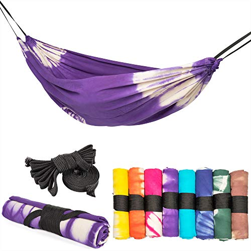 slomock Hängematte & Strandtuch für 2 Personen, 2 in 1, zu 100% aus Baumwolle in 8 Farben (In- & Outdoor 250 x 145 cm + 2 Seile 250 cm) (VIOLETT)