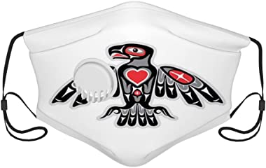 GULTMEE Fillter Cloth for Adults,Native American Pacific Northwest Style Tomem Eagle Bird,Reusable Windproof Cloth Half Face