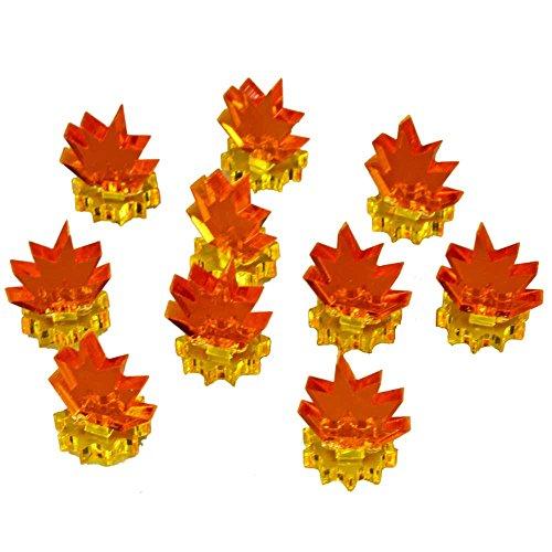 Blast Markers, Mini, Transparent Yellow Base & Fluorescent Amber Flames (10)