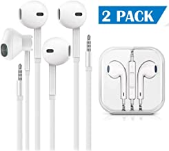 Earbuds/Earphones/Headphones, (2 Pack) Stereo Microphone and Remote Control Noise Isolation in-Ear Headphones, Compatible with iPhone/iPod/iPad/Samsung/Huawei/MP3/MP4/MP5