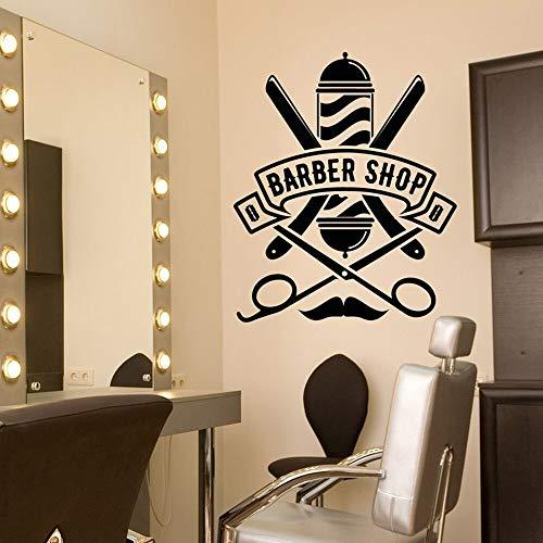yaonuli Barbershop Logo Vinyl Wandtattoo Frisur Frisur Beauty Salon Logo Rasiermesser Wandaufkleber Wand Fenster Aufkleber 30x42cm