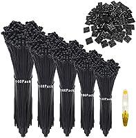 Profi Schwarz Kabelbinder Set, 500 Stück 100/150/200/250/300mm zip tie (je 100 Stück) und 50 Stück Kabelbinderhalter,...