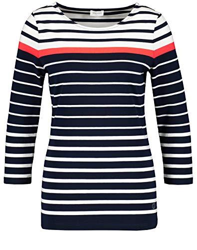 Gerry Weber Damen 3/4 Arm Shirt Mit Mehrfarbigen Streifen Figurumspielend, Tailliert Navy/Weiß/Red Orange 38