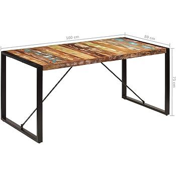 Festnight Mesa de Comedor 160x80x75 cm Madera Maciza de Reciclada: Amazon.es: Hogar
