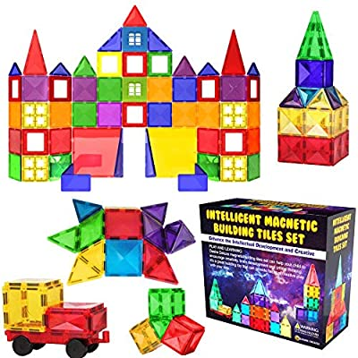 Desire Deluxe Magnetic Tiles Blocks Building Set for Kids – Learning Educational Toys for Boys Girls for Age 3 - 8 Year-Old – Birthday Present Gift (57PC) by Desire Deluxe