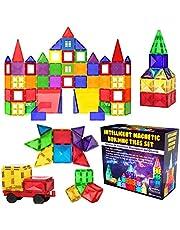 Desire Deluxe Magnetiska byggstenar STEM Leksaksuppsättning 57PC - Barn som lär sig konstruktionsleksaker för pojkar Flickor närvarande Ålder 3 4 5 6 7 år - Present
